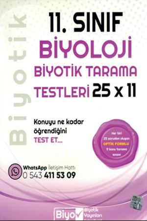 Resim 11. Sınıf Biyoloji 25 x 11 Biyotik Tarama Testleri
